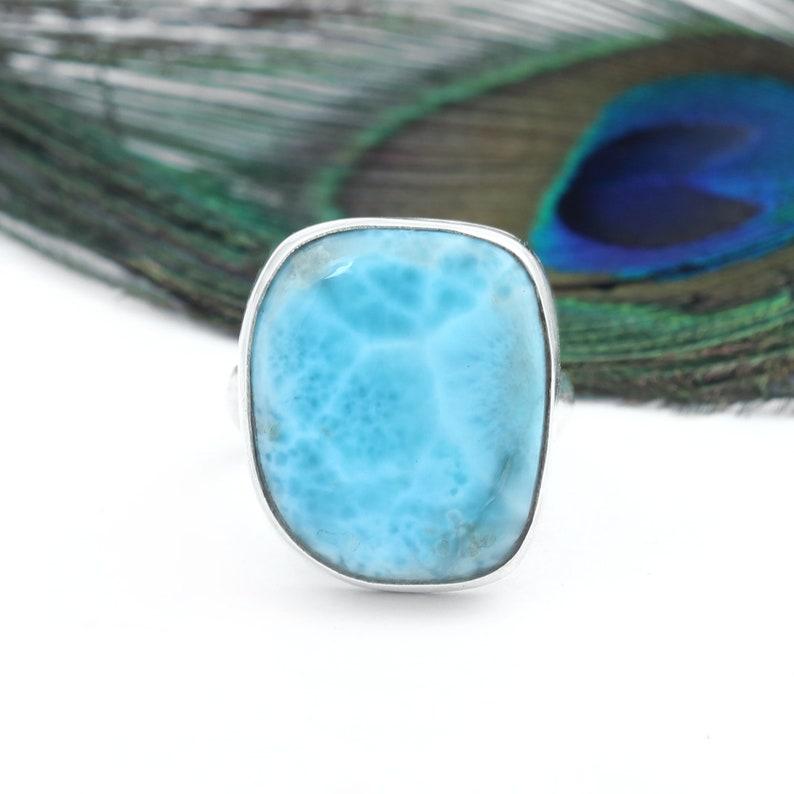 Elegant Designer Round Gemstone 925 Sterling Silver Stamped Ladies Larimar Ring