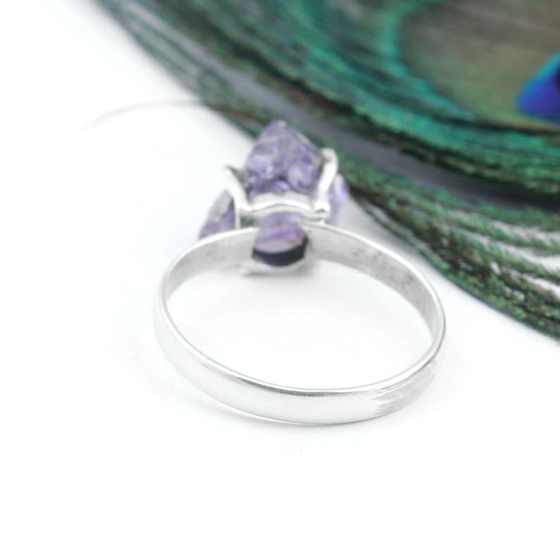 Rough Silver Ring Gemstone Ring Boho Ring Rough Amethyst Ring Unique Ring Amethyst Jewelry Women Ring Purple Amethyst Ring Gift