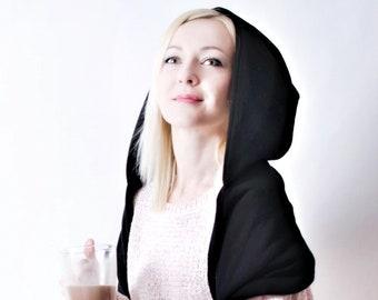 Hood and scarf, 2in1, WATERPROOF BLACK HOOD