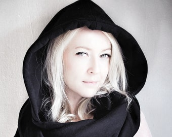 Hood and scarf, 2in1, BLACK HOOD for her