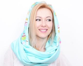 Hood and scarf, 2 in 1, WATERPROOF MUFFINS HOOD