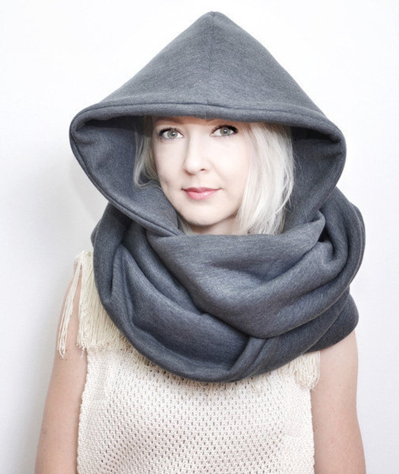 Hood and scarf 2in1 GREY HOOD for her image 0