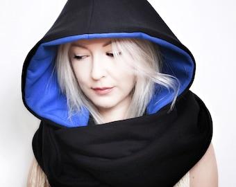 Hood and scarf, 2in1, WATERPROOF COBALTIC HOOD