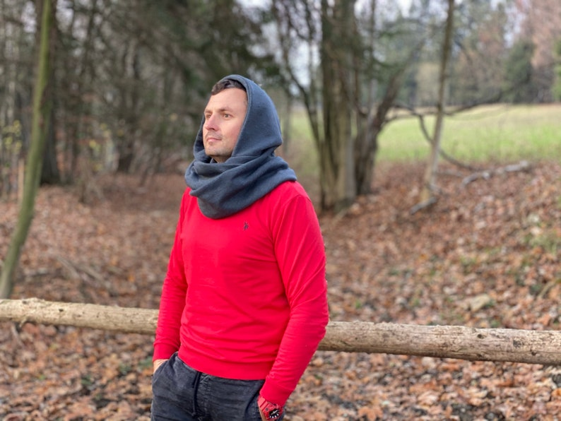 Hood and scarf 2in1 GREY HOOD for him image 0