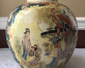 Large Vintage Hand Painted Royal Satsuma Vase, With Figures, Made In China