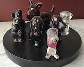 Lot of 6 dog figurines, 2 are perfume bottles