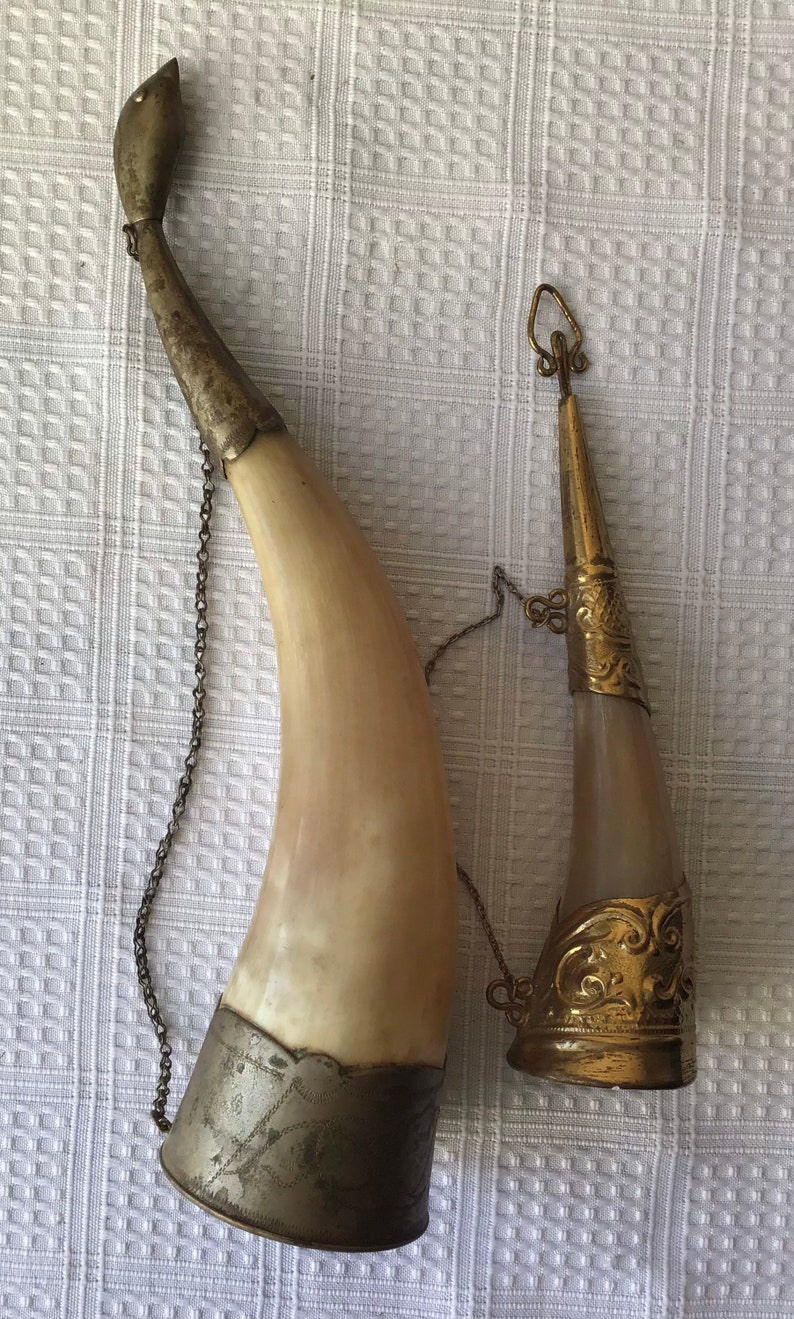 Lot Of 2 Vintage Brass Decorated Drinking Horns