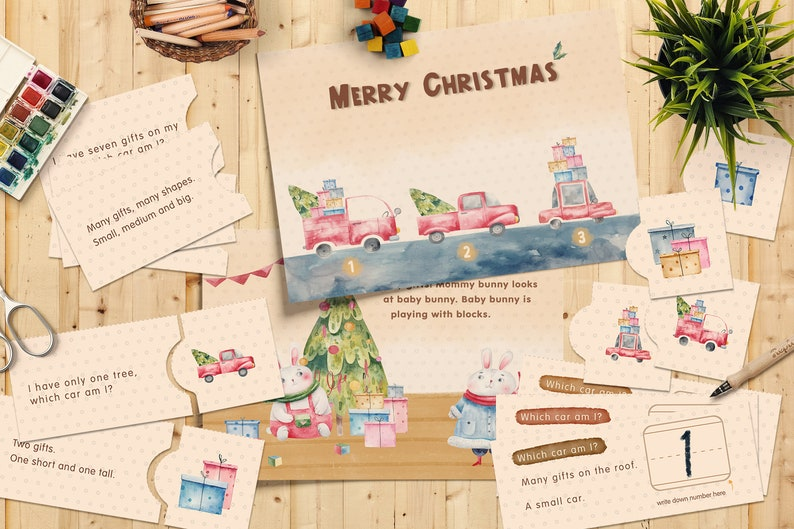 Merry Christmas Reading Games  Literacy Game  Matching and image 0