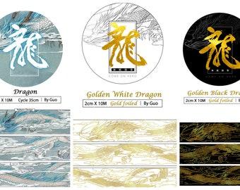 Golden Black White Dragon Washi Tape Sample