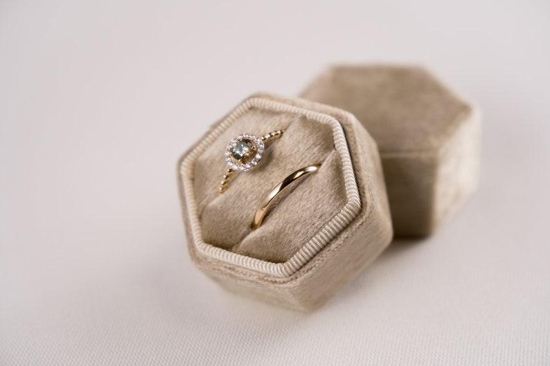 Wedding Velvet ring box Hexagonal ring box Gift Akaroa beige Velvet box