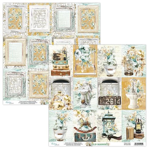 Scrapbooking paper pad 12pcs 12 x12 Old manor 30x30cm Mintay by Karola.