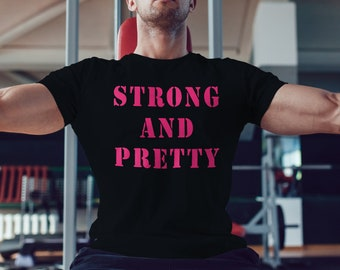e736f7760 strong & pretty shirt for Bodybuilder's funny Gift, female bodybuilder shirt,  weight lifting t-shirt, Gym gift