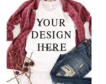 Download Free Bella + Canvas 3001 Unisex Short Sleeve Jersey T-Shirt mockup | fall mockup | autumn Mockups PSD Template