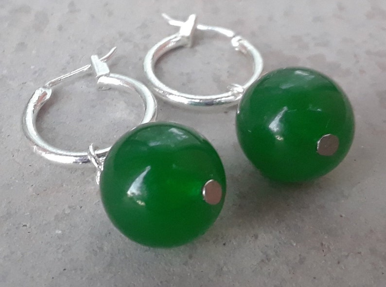 New 10mm Jewelry Natural Light emerald jade  /& Sterling Silver Stud Earrings