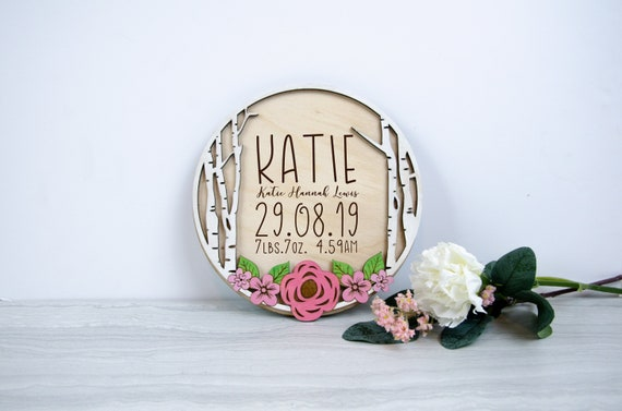 Birth Announcement Sign, Personalized Baby name Gift, Birth Stats Sign, Baby Name Sign, Baby Keepsake Wall Art