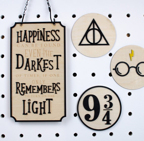 Happiness in the darkness harry potter quote sign, albus dumbledore quote