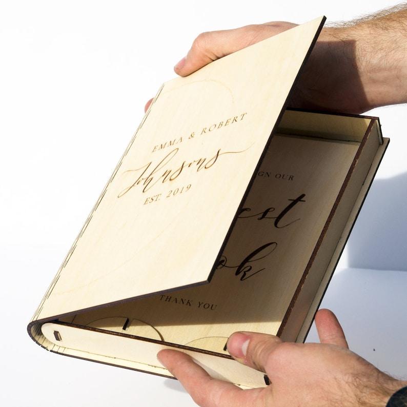 wedding sign card box wooden book box Personalised Wedding box rustic wedding guest book guest book alternative wedding ring box