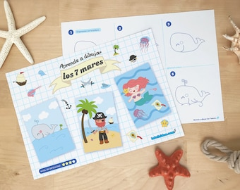 """Guía de dibujo para niños y niñas  """"Aprende a dibujar Los 7 Mares"""" paso a paso [descarga inmediata]"""