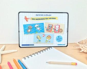 """Guía de dibujo para niños y niñas """"Aprende a dibujar ANIMALES EN VERANO"""" paso a paso [descarga inmediata]"""