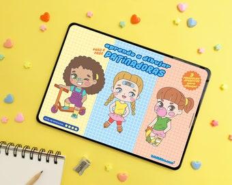 CÓMO DIBUJAR PATINADORAS estilo chibi - Guía de dibujo paso a paso para niñas y niños [descarga inmediata] cómo dibujar chibis