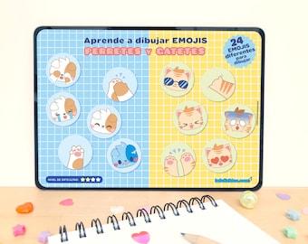 Guía de dibujo para niños y niñas EMOJIS de PERRETES Y GATETES paso a paso [descarga inmediata]