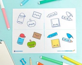 Guía de dibujo para niños VUELTA al COLE KAWAII paso a paso [descarga inmediata]