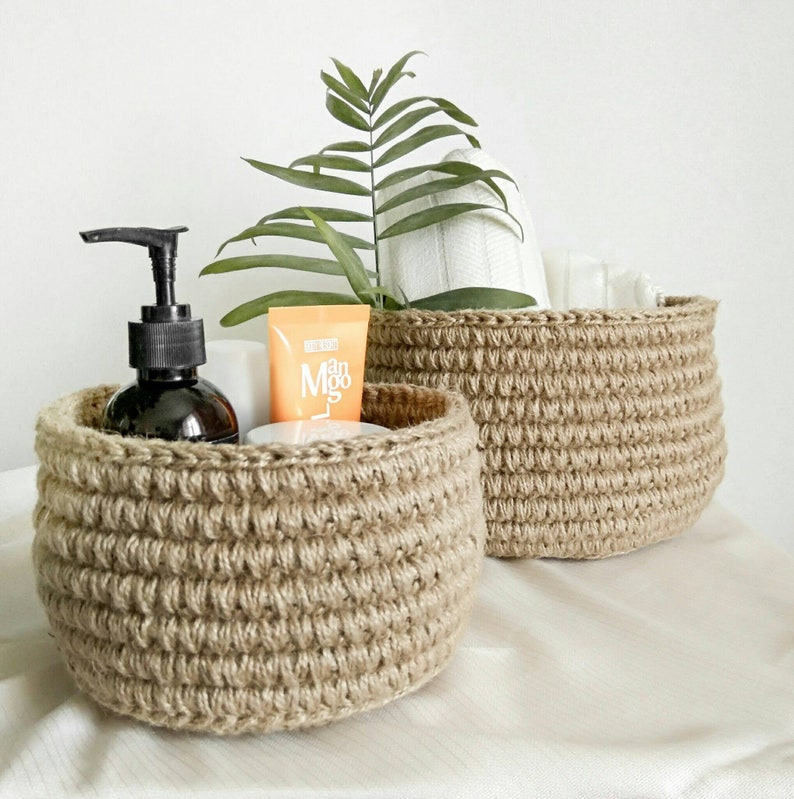 Set of 2 jute baskets for cosmetics Bathroom organizers set image 0