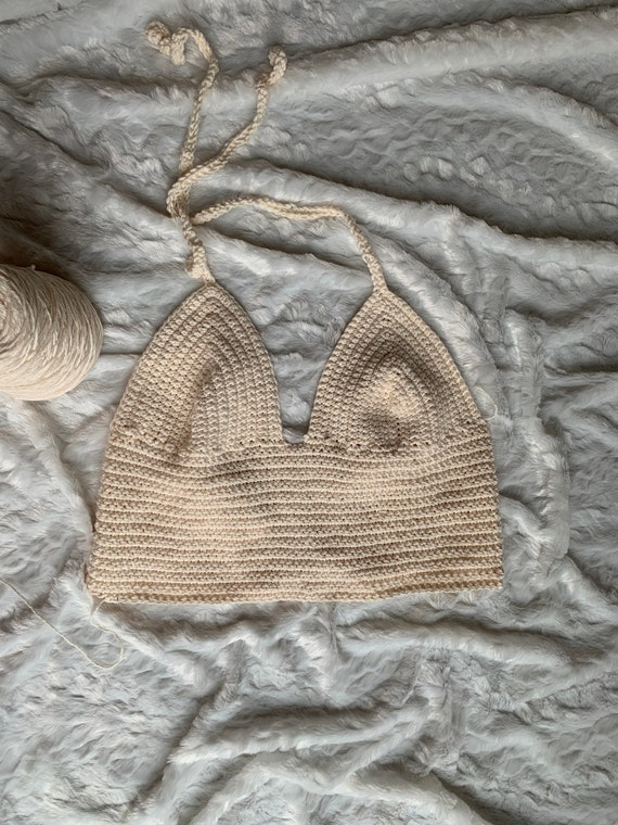 the yarn has a hint of shimmer sparkle and glamorous Festival Top Crop top Cream Top Crochet Top Cream Crochet Bralette