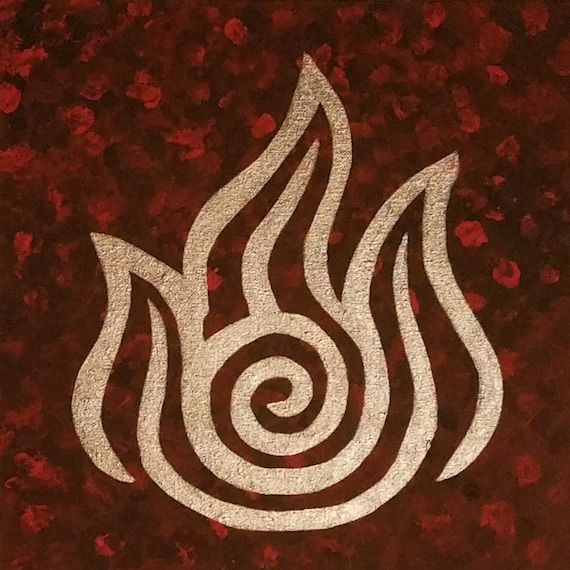 Avatar The Last Airbender Handpainted Canvas Fire Nation Etsy