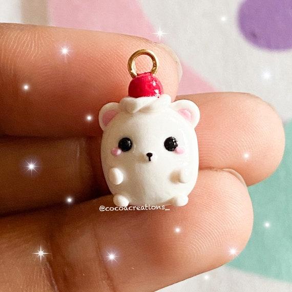 Kawaii Handmade Chubby Strawberry Polar Bear Polymer Clay Charm