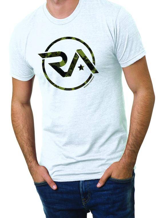 Robuste américain RA Camo Logo T-shirt-blanc