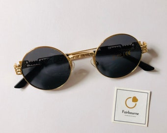 f9cd676a5e8 Vintage Gold Frame Glasses with Black Lens - Retro Hip Hop Sunglasses Quavo  Migos