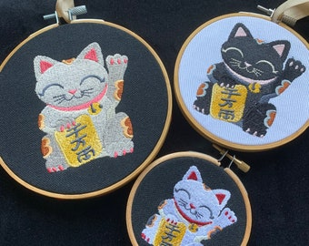 Lucky Cat Embroidered hoop - Maneki-neko - 3/4/5 inch hoop - Colour Choice  -  Brings you Good Fortune and Luck with his Little Raised Paw