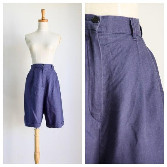 Blue linen shorts. High waist ladies shorts. 60s B