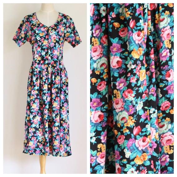 90s black floral summer dress. Bright floral dress