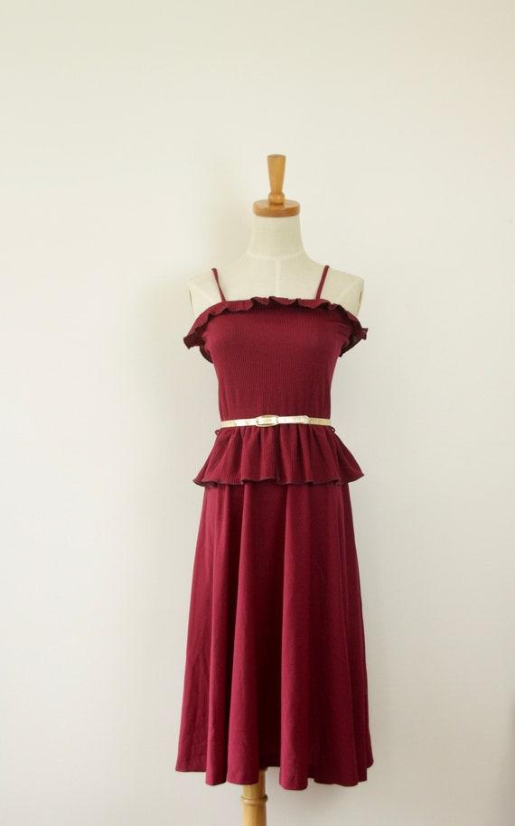 70s Burgundy summer dress. 1970s ruffle dress. Red