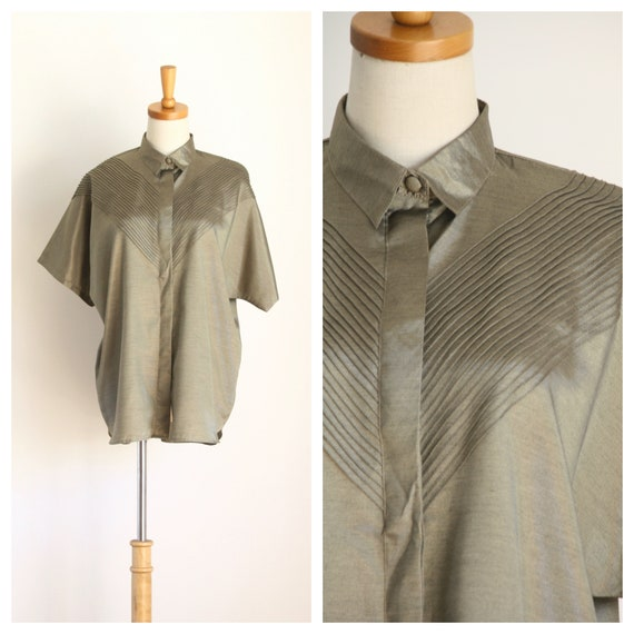 Bronze silk blouse. Khaki batwing shirt. Tropical
