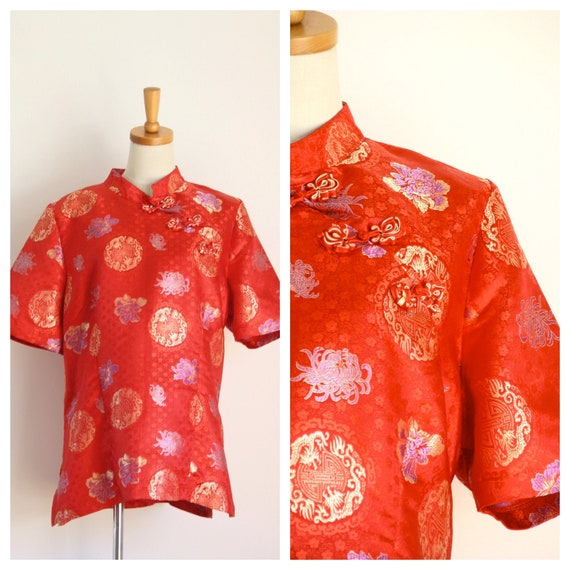 Red Cheongsam blouse. Vintage Chinese red satin to