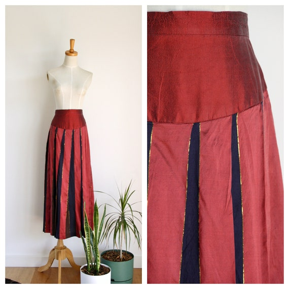 Vintage red silk skirt. 80s pleat raw silk skirt.