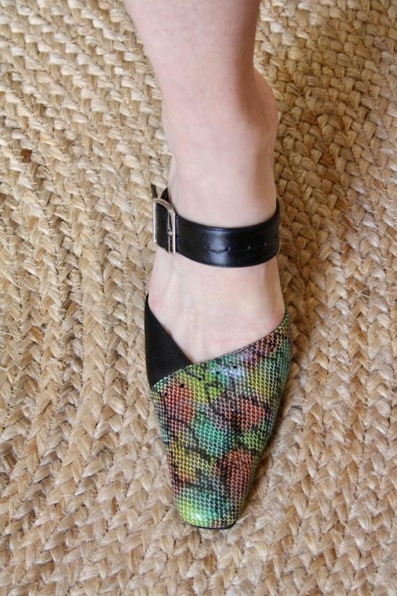 Vintage Neon green 90s heels. 90s Snakeskin mules… - image 5