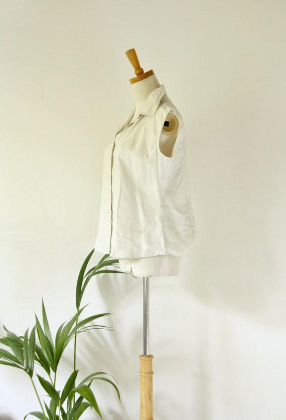 90s bone linen blouse. Ecru white shirt. Summer li
