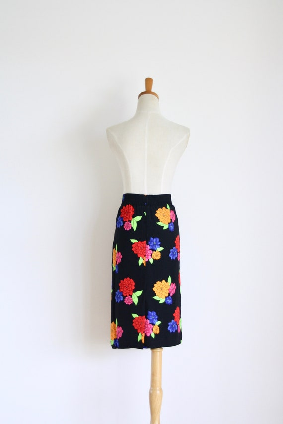 BLACK PINK FLORAL SMART PENCIL WIGGLE CAUSAL SKIRT SIZE 10-18