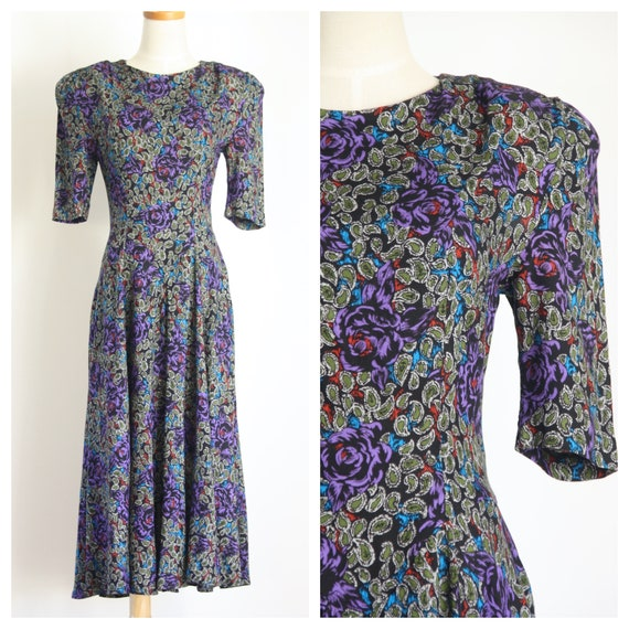 80s does 40s dress. Black floral rayon dress. 40s