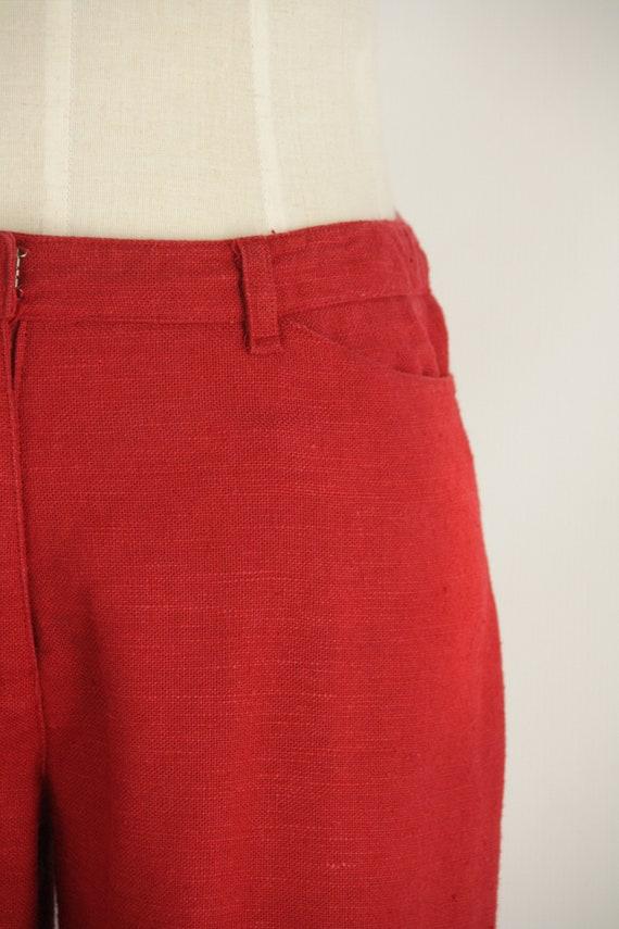 Red linen 90s pants. Red straight leg pants. Natu… - image 8
