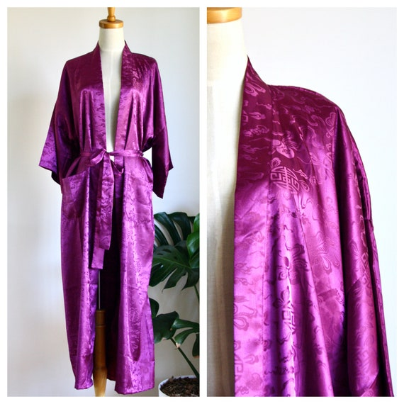 Purple Chinese silk robe. Silk Asian duster. Purpl