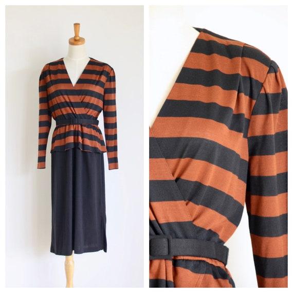 80s does 40s brown black striped dress. Striped Pe