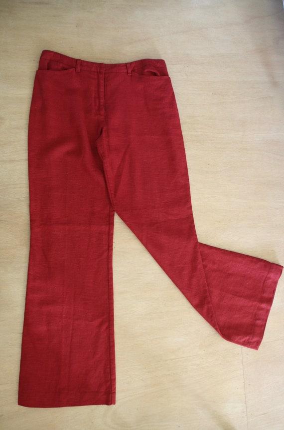 Red linen 90s pants. Red straight leg pants. Natu… - image 9