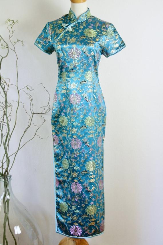 90s Blue cheongsam dress. Teal blue Chinese dress.