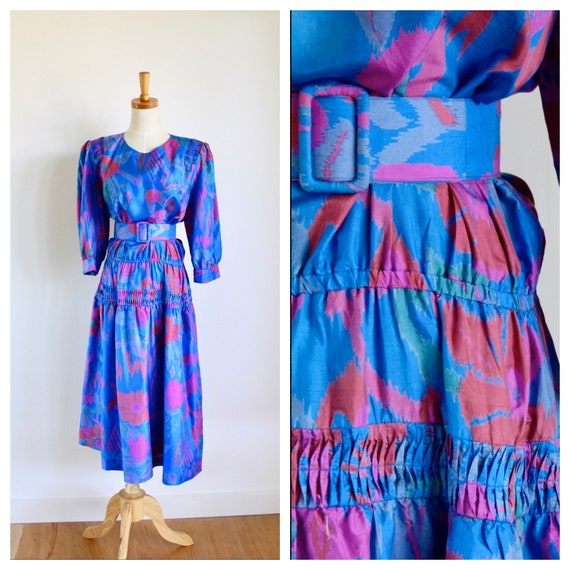 Vintage 80s silk dress. Puff sleeve silk dress. 80