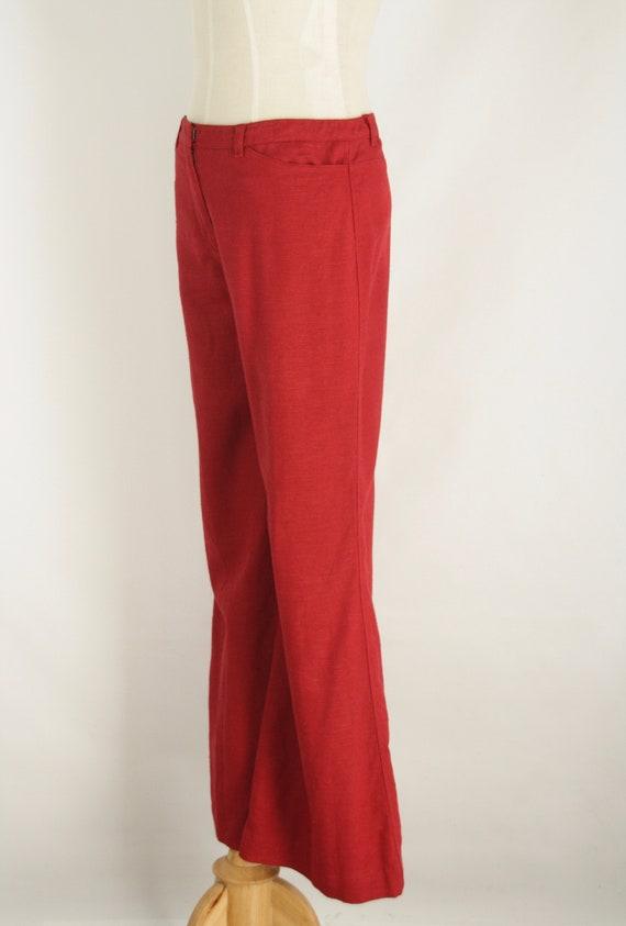 Red linen 90s pants. Red straight leg pants. Natu… - image 5